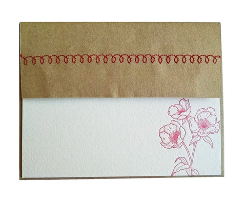 Red Flower Letterpress Stationery with Sewn Envelope - single card - Idea Chíc