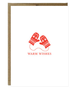 Warm Wishes Red Mittens Letterpress Card - $2.50 each | case of 6