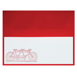 Tandem Bike Letterpress Stationery Note - $2.50 | case of 6
