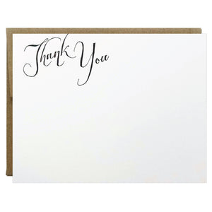 Elegant Scripted Thank You Letterpress Card - Idea Chíc