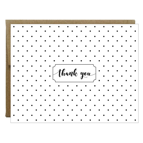 Black Polka Dot Thank You Greeting Card - $2.00 each | case of 6