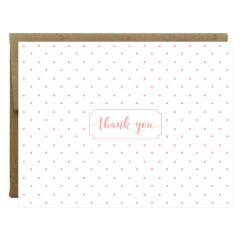 Blush Polka Dot Thank You Greeting Card - $2.00 each | case of 6