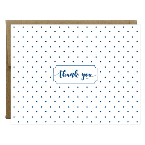 Navy Polka Dot Thank You Greeting Card - $2.00 each | case of 6