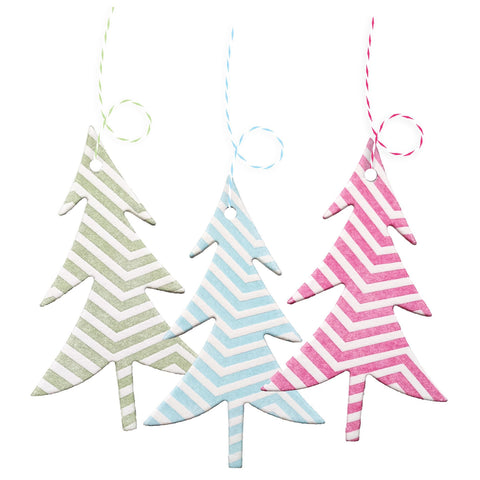 Letterpress Tree Tags or Ornaments in Chevron Pattern - 3 pack - Idea Chíc