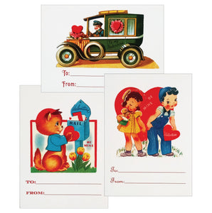 Vintage Kids Valentines with Sticker Seals - 12 pack - Idea Chíc