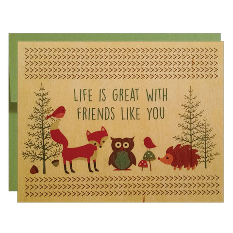 Great Friends Wood Veneer Greeting Card - $2.50 each | case of 6