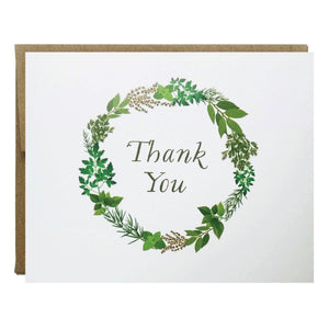 Herb Garden Wreath Thank You Card - Idea Chíc