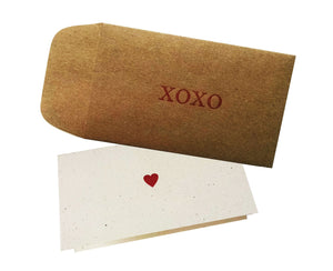 XOXO Envelope with Love Note Heart Card - pack of 4 - Idea Chíc