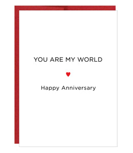 You Are My World Letterpress Anniversary Card  - $2.50 each | case of 6