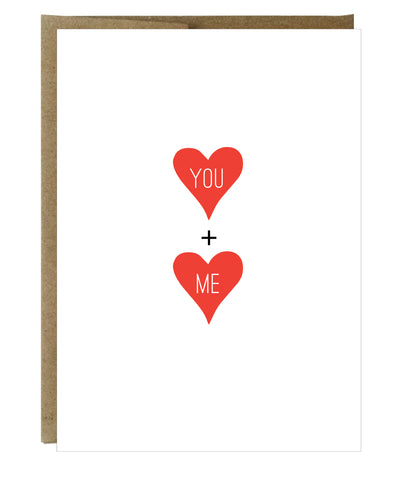 You + Me Hearts Letterpress Card - $2.50 each | case of 6