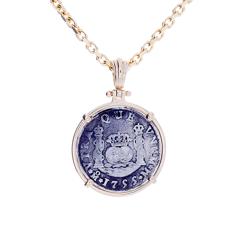 2 Real Spanish Pillar Coin Pendant