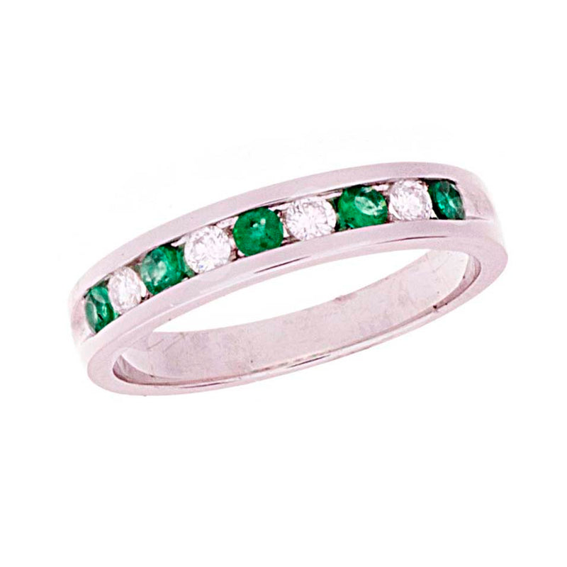 Emerald Diamond channel set band