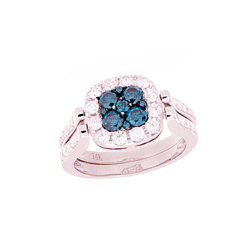 Ladies Blue Diamonds Reversable Ring