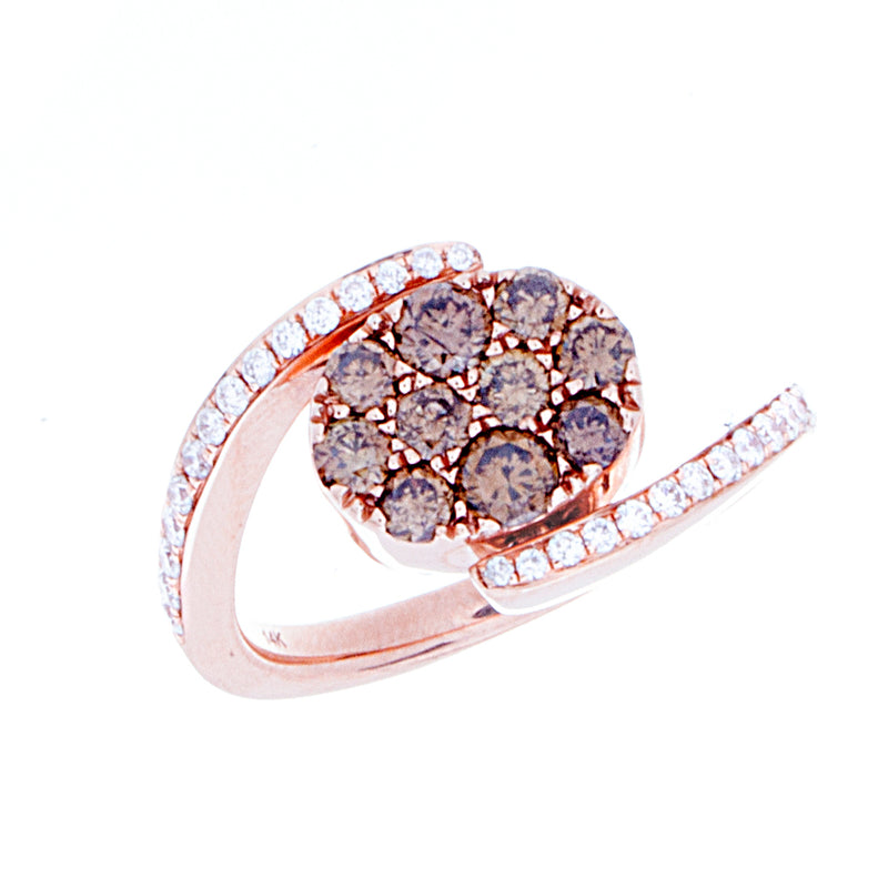 Blue and Brown Diamond Reversable Ring