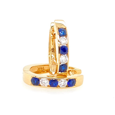 Channel Set Sapphire and Diamond Earrings - Jewelry Store in St. Thomas | Beverly's Jewelry
