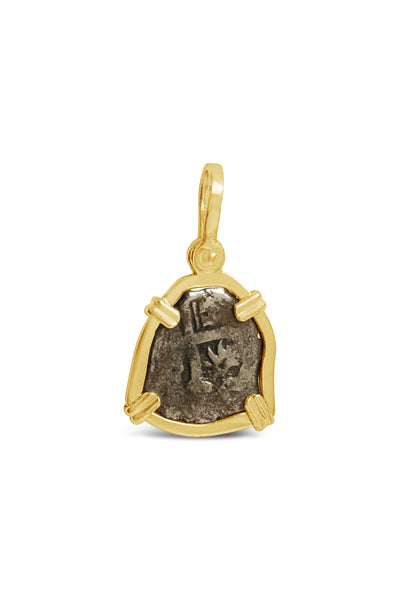 1715 Fleet Coin Pendant with 14 karat gold frame