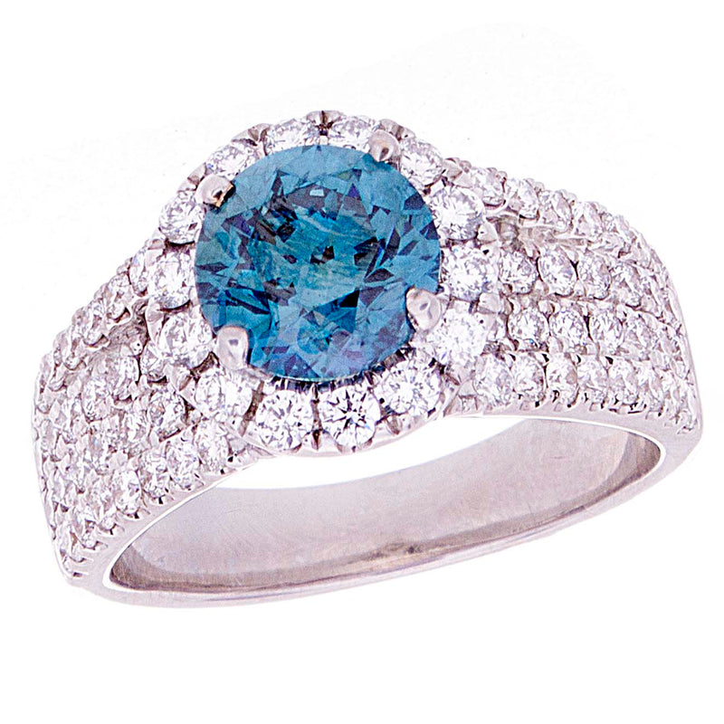 Blue Diamond Solotaire Ring