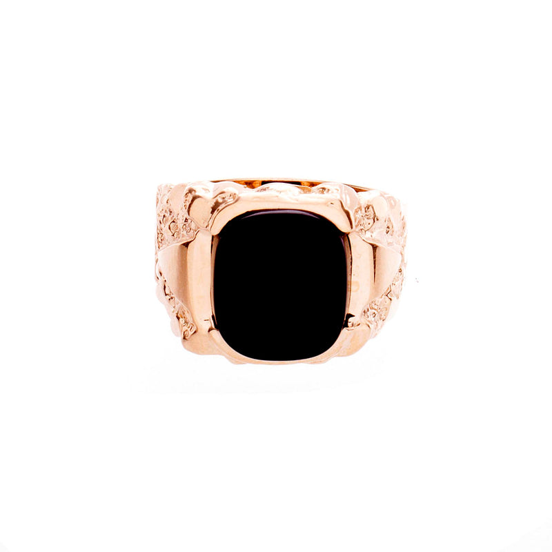 Mens Nugget Ring with Onyx