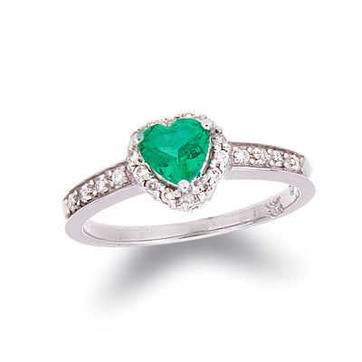 Heart Shaped Emerald Ring with Diamond Halo - Jewelry Store in St. Thomas | Beverly's Jewelry