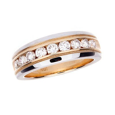 Mens Two Tone Channel Set Band with Milgrain - Jewelry Store in St. Thomas | Beverly's Jewelry