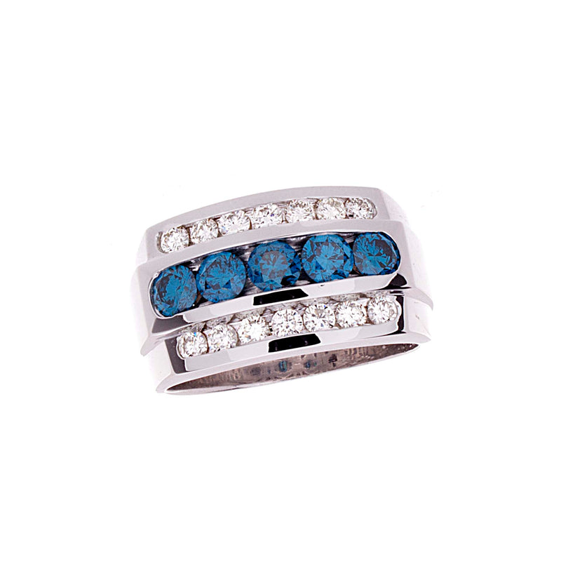 Mens Blue Diamond Ring