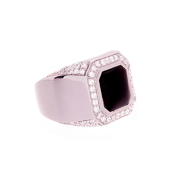 Mens Onyx & Diamond Ring