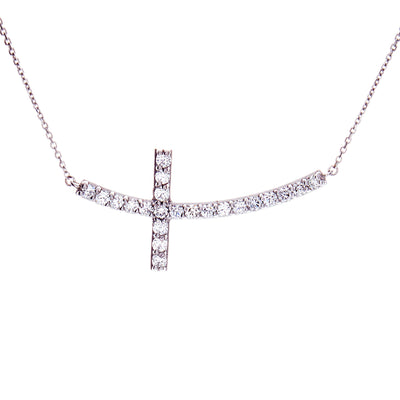 Sideways Diamond Cross Necklace - Jewelry Store in St. Thomas | Beverly's Jewelry