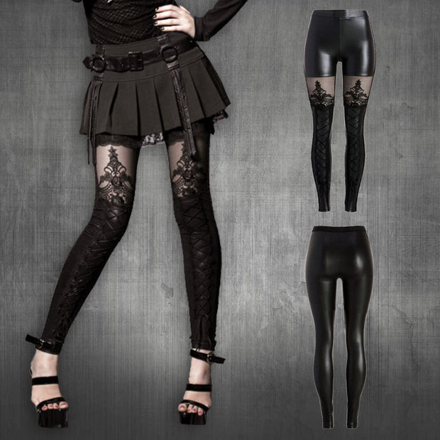 Gothic BLack Leggings With Lace