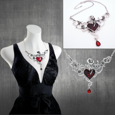 Gothic Red Blood Heart Rose Necklace