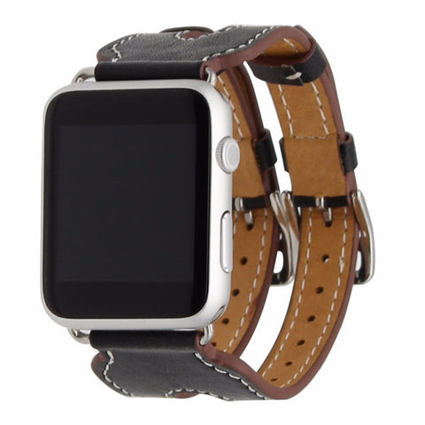 LizaTech Leather Double Buckle Cuff Replacement Band for Apple Watch