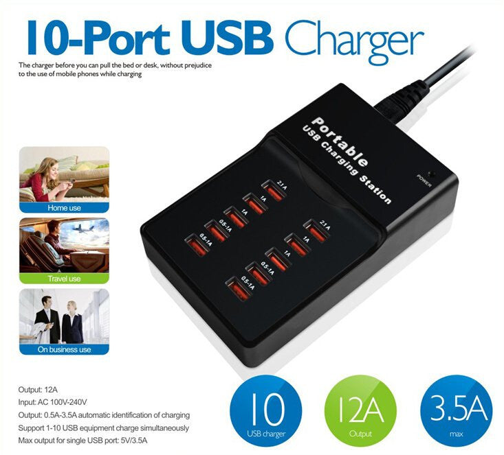 IPM High Speed USB 2.0 10-port USB Charging Hub