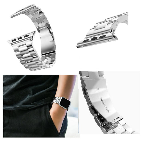 iPM Stainless Steel Metal Replacement Link Strap For Apple Watch AWLS1