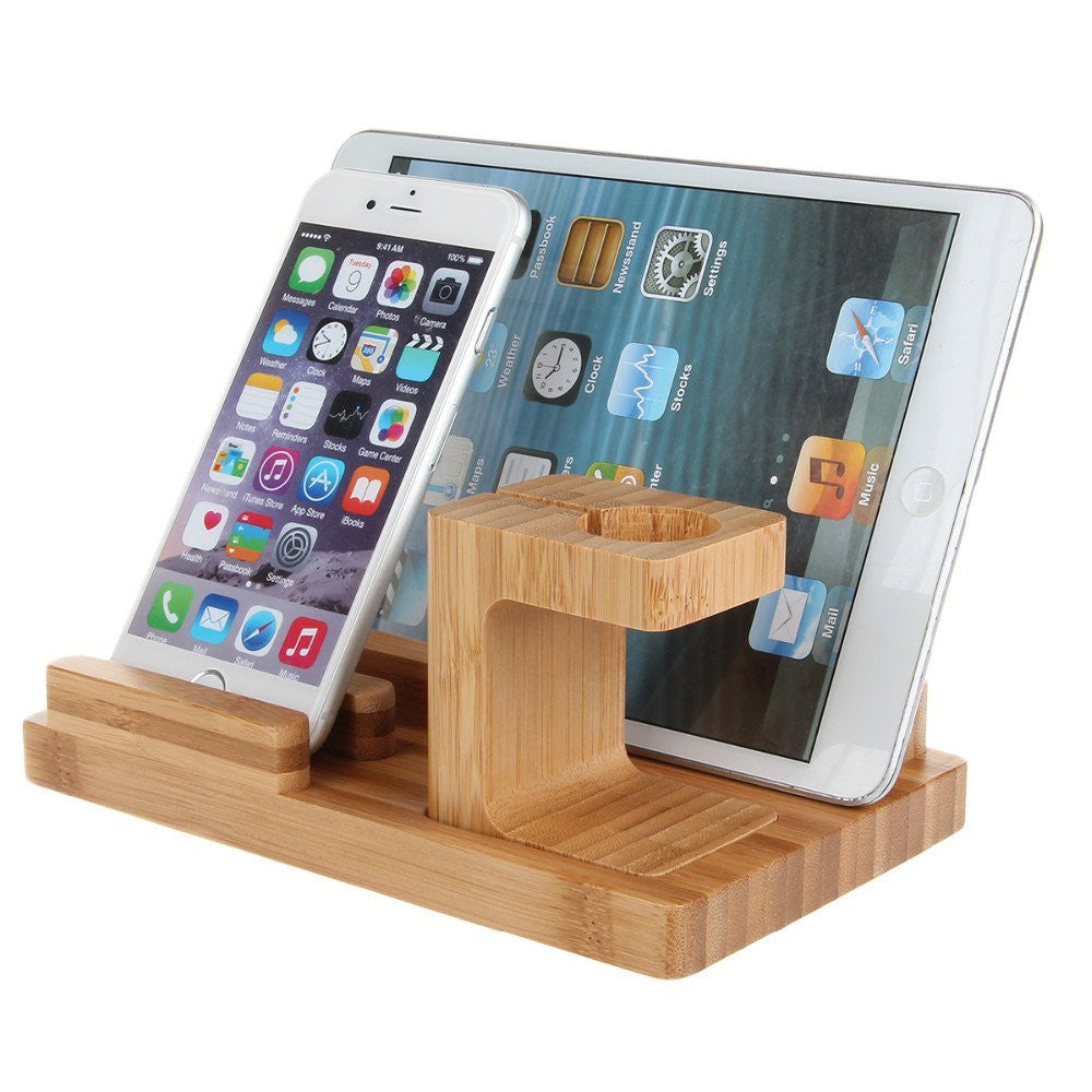iPM Bamboo Wooden Dock For Apple Watch, iPhone, iPad & Desk Organizer