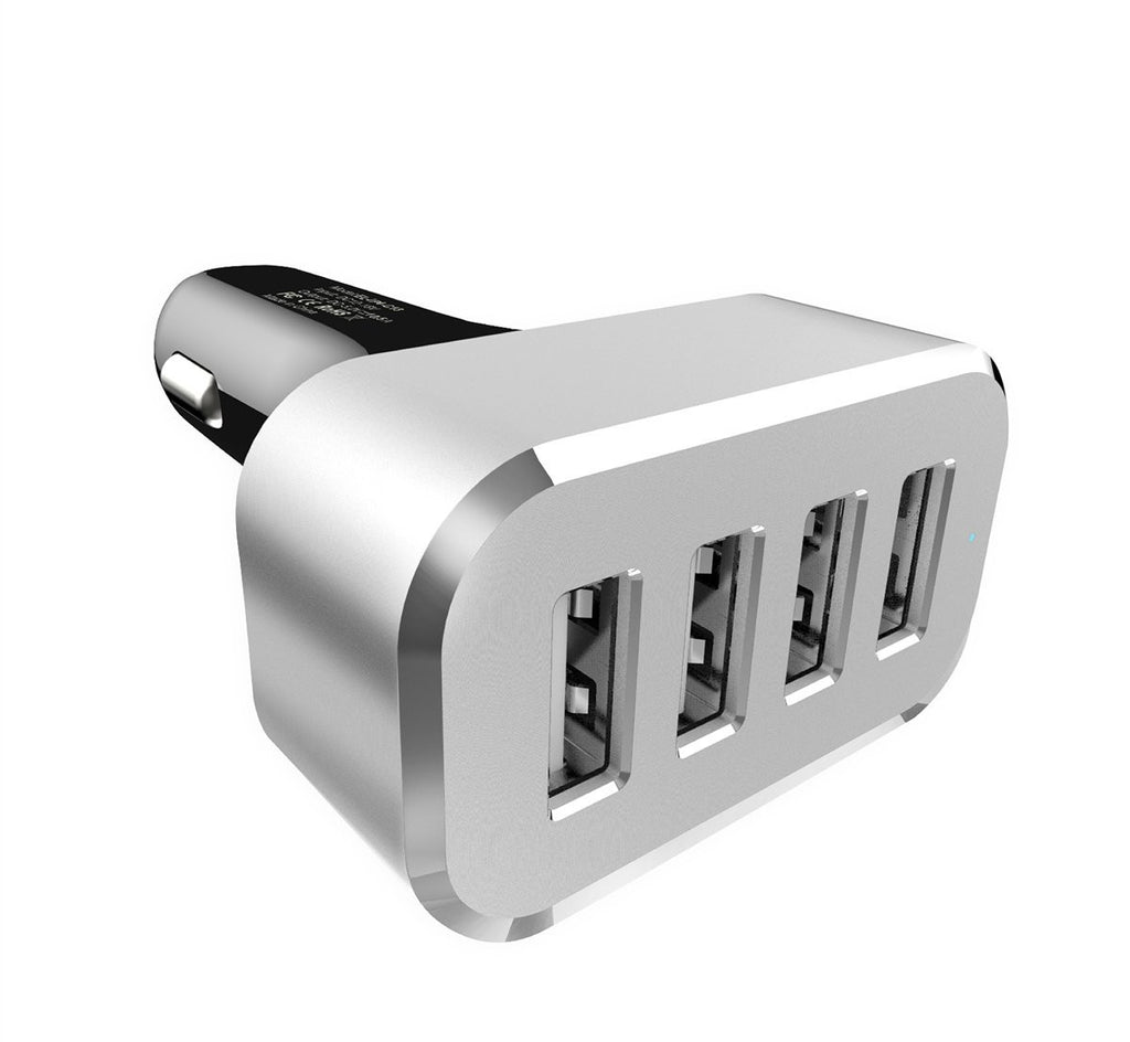 LizaTech 4-USB High Power 48 Watt 9.6 Amp Output Car Charger For All Smartphones And Tablets