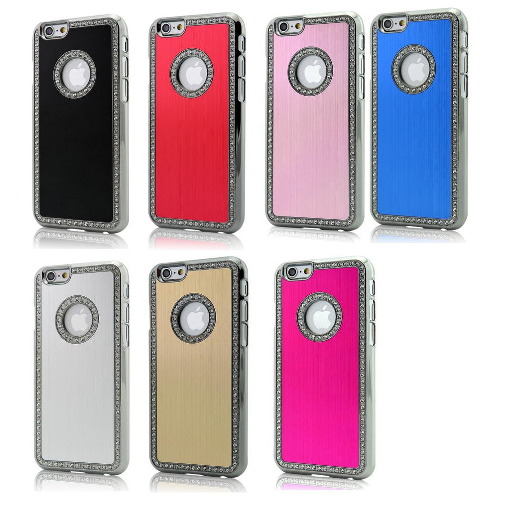 LizaTech Luxury Aluminum Brushed Hard Case with Rhinestones for iPhone 6