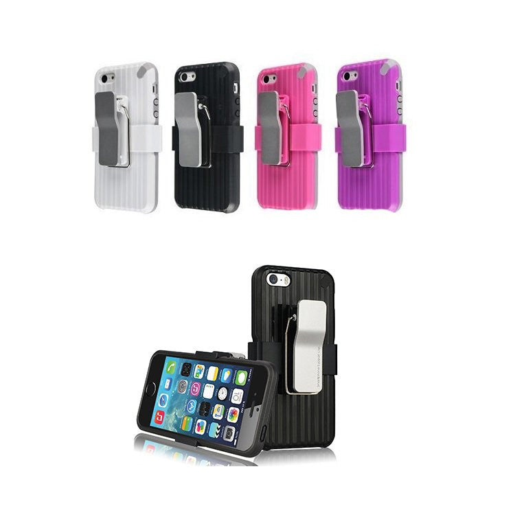 LizaTech Luxury Shockproof Rugged Belt Clip Holster Hard Case Cover for iPhone 5/5S/5C