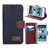 iPM Stone Grid Hard Leather Protective Wallet Case for iPhone 6