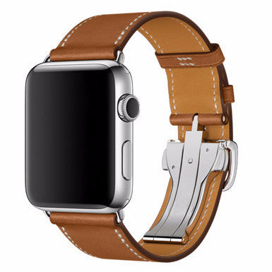 LizaTech Leather Replacement Band for Apple Watch with Folding Clasp & Stainless Steel Case
