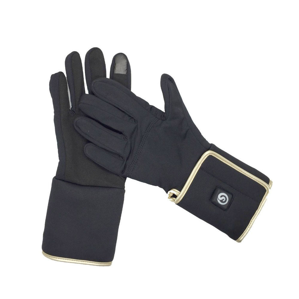 LizaTech 3-Level Rechargeable Heated Gloves - Sleek Black with Gold Trim