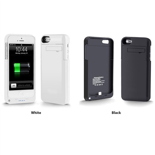 PowerSlider Lightning iPhone 5 Rechargeable External Battery Full Protection Kickstand Case with 8 Pin Lightning Charging Connectors- Choice Of Color