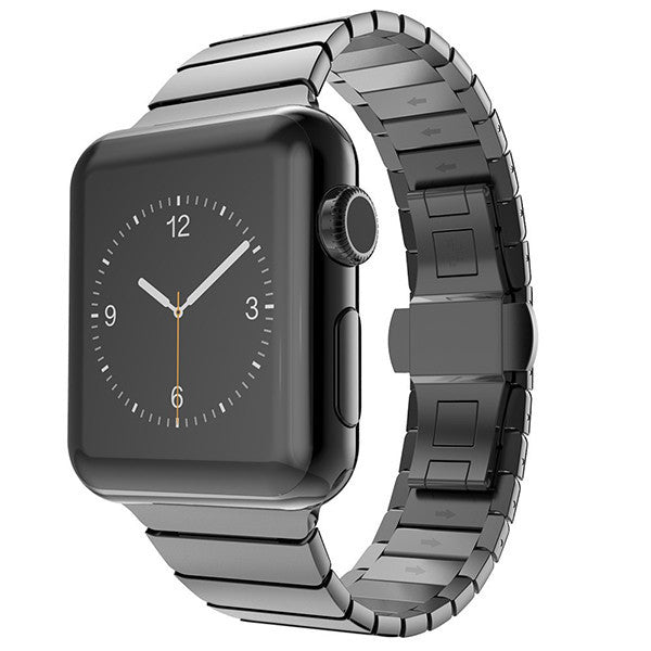 LizaTech Stainless Steel Link Band with Horizontal Butterfly Closure for Apple Watch