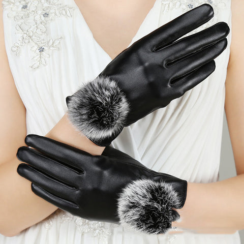 LizaTech Women's Touchscreen Leather Winter Gloves with Faux Fur Pom-Pom