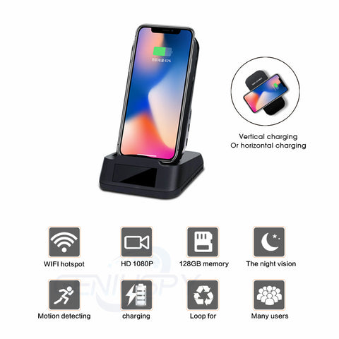 Wireless Charging Dock Wi-Fi Hidden Camera | Spy Camera | Motion Detection | Hidden Camera | Fast Wireless Charger | Wireless Charger | HD 1080p Camera