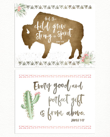 Girls Cactus Desert Nursery Print Set of Two