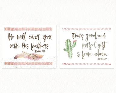 Modern Cactus Girls Nursery Print Set of Two