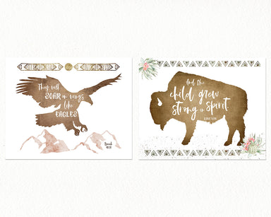 Boho Girls Desert Nursery Print Set with Buffalo