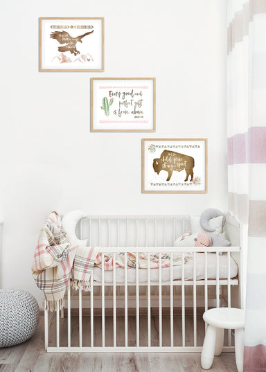 Set of Three Girls Tribal Nursery Prints
