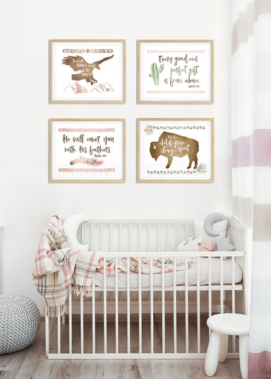 Set of Four Tribal Nursery Prints for Girls