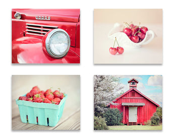 Red Farmhouse Print Set of Four