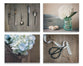 Blue Rustic Kitchen Set of Four